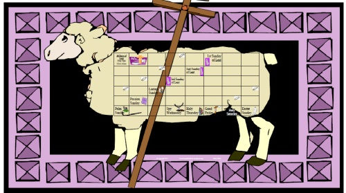 Lenten Lamb of God calendar.  For each day of Lent, the  children will  glue a cotton ball into the day's square. By the end of Lent, our Lamb will be full of wool as we celebrate the arrival of the Lamb himself!