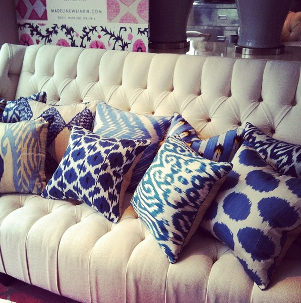 Madeline Weinrib Ikat Pillows at Andrew Martin London via instagram user Toyportfolio. Perfect for new couch~TA