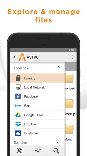 Astro File Manager (File Explorer) v6.0.5   Astro File Manager (File Explorer) v6.0.5Requirements:4.0Overview:ASTRO File Manager is the top File Manager to browse organize compress and share your files and documents across local and cloud storage spaces.  Enjoy the most efficient and simple way to manage your files!  Explore all your files at your fingertips- whether on SD Card internal memory cloud storage services like Dropbox Google Drive Facebook Box Microsoft OneDrive or local networks…