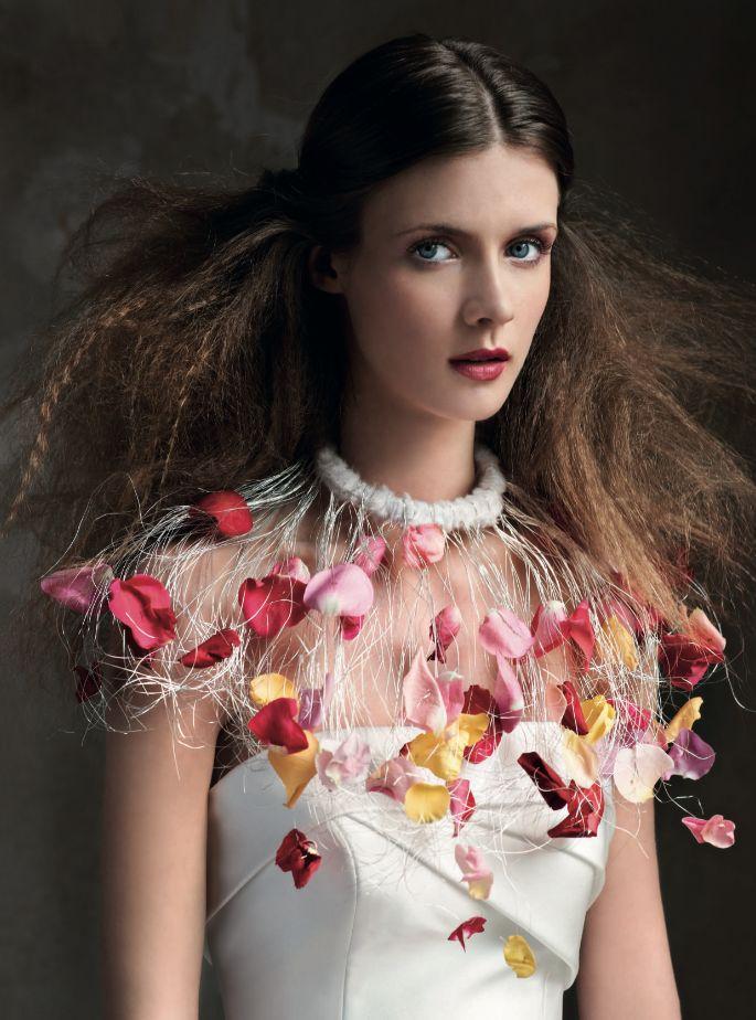 Un inaspettato collier di petali per l'abito in raso di Elisabetta Polignano. Ph. Antonio Redaelli stylist Elisa Nascimbene.  Vogue Sposa n. 121 giugno 2012 via @voguesposait