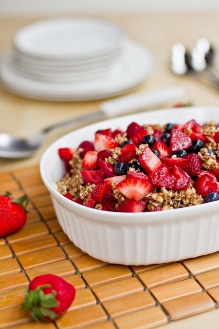 Raw Triple Berry Crisp. Does not keep! Berries: 1.5 strawberry containers, 12 oz blueberries, 1 small raspberry container, 1 T maple syrup. Topping: 1 C walnuts, 1 C pecans, 1/4 C oats, 2 T maple syrup, 1/4 t salt, & 1/4 t cinnamon. Refrigerate 1 hr