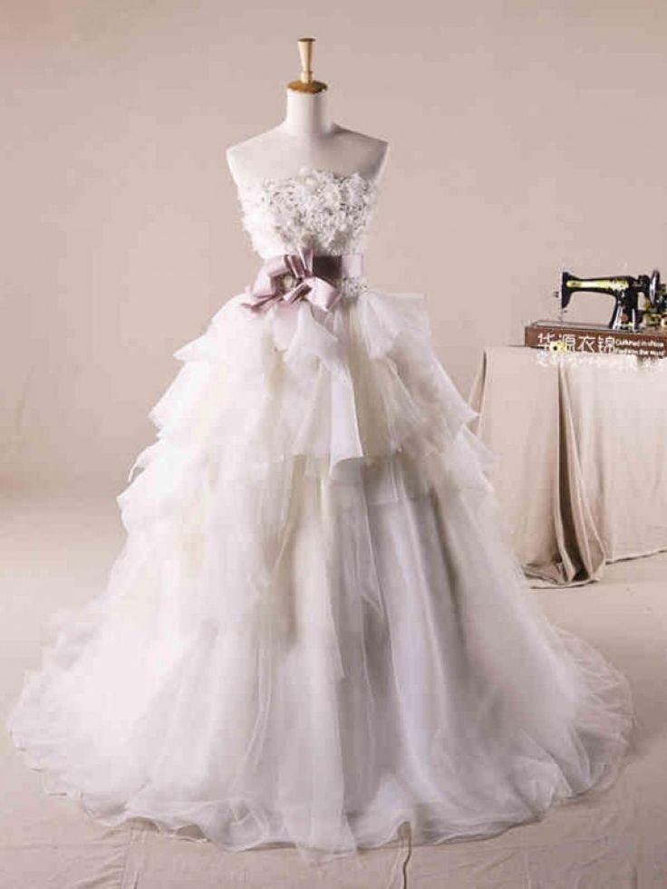 Dathybridal #ウェディングドレス ボールガウン ベアトップ #オーガンジー レースアップ ノースリーブ サッシ アイボリー スウィープ 結婚式 二次会ドレス Hlb0026