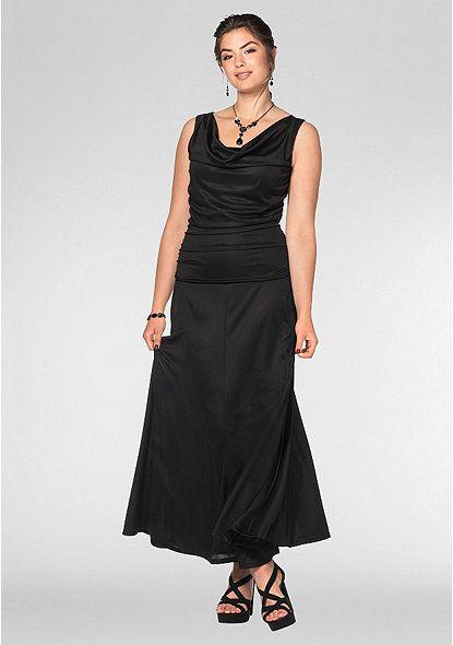 Sheego Style Abendkleid mit Wasserfallkragen – schwarz