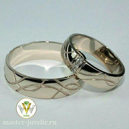 Обручальные кольца с бриллиантами. Изготовлены на заказ. Артикул Обр1044, белое золото 585 пробы, бриллианты, ширина 6 мм, вес 10 гр.