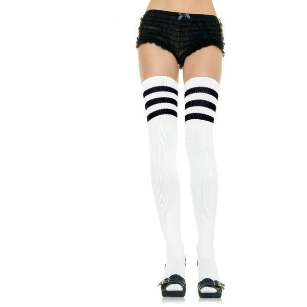 Amazon.com: Leg Avenue Women's Athletic Ribbed Thigh High Socks,... ($9.34) ❤ liked on Polyvore featuring intimates, hosiery, socks, thigh high hosiery, thigh high tube socks, white and black socks, leg avenue hosiery and black and white socks