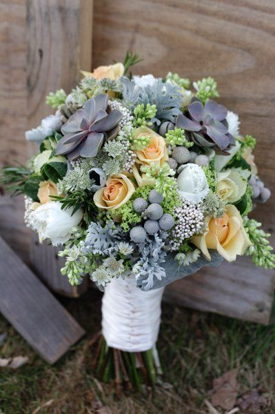 Succulent and Rose wedding bouquet {Twisted Willow Flowers}