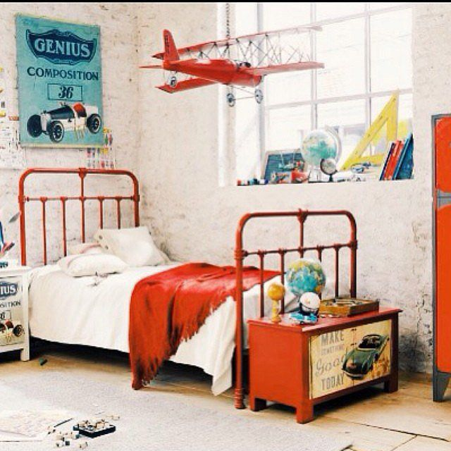 For a little boy who loves all things that move, this room incorporates a vintage transportation theme.  Source: Instagram user lau_riginalite
