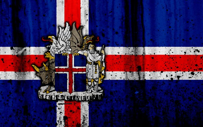 Download wallpapers Icelandic flag, 4k, grunge, flag of Iceland, Europe, Iceland, national symbolism, coat of arms of Iceland, Icelandic coat of arms