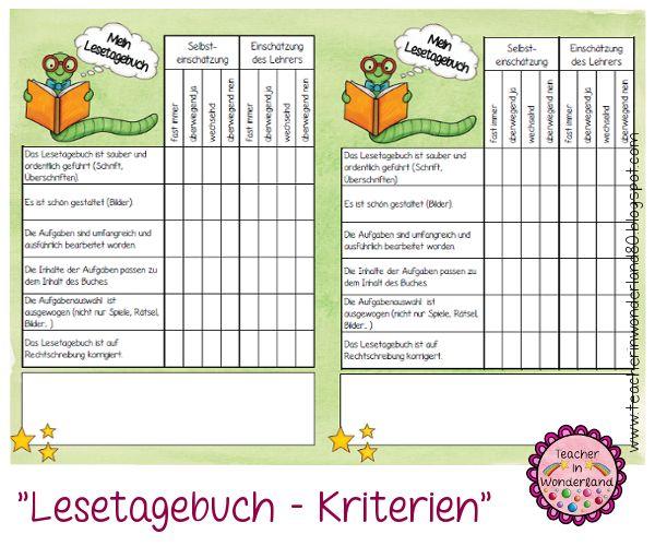"""Teacher In Wonderland: """"Lesetagebuch - Kriterien bzw. Rückmeldebogen"""""""