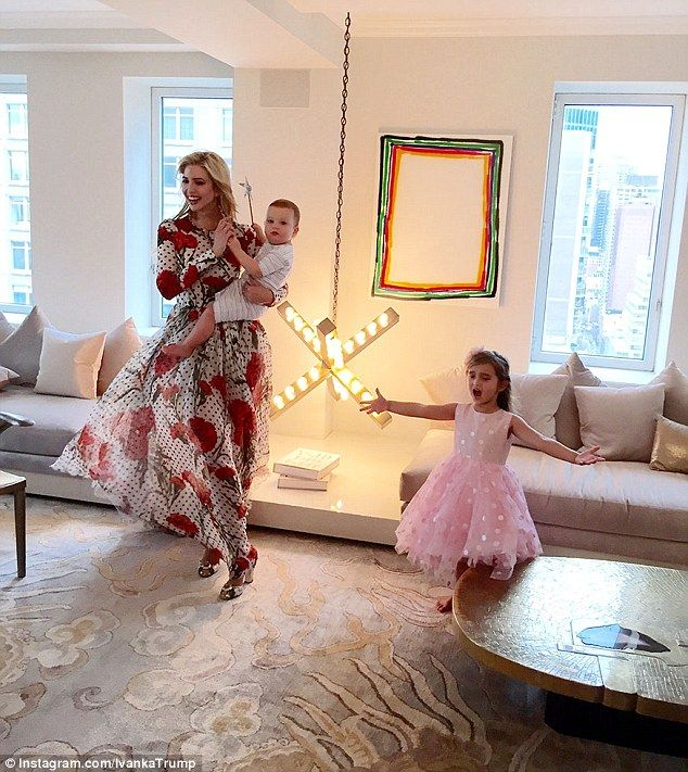 Stealing the show! A behind-the-scenes snap shows Ivanka's three-year-old daughter Arabella putting on a performance for the camera
