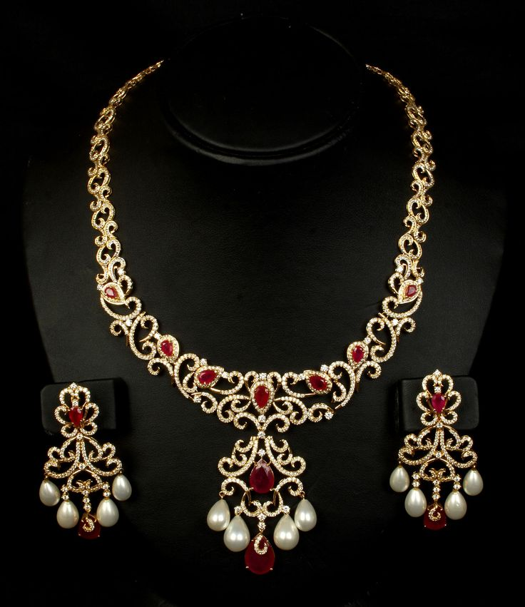 Diamond Necklace with Ruby and pearl