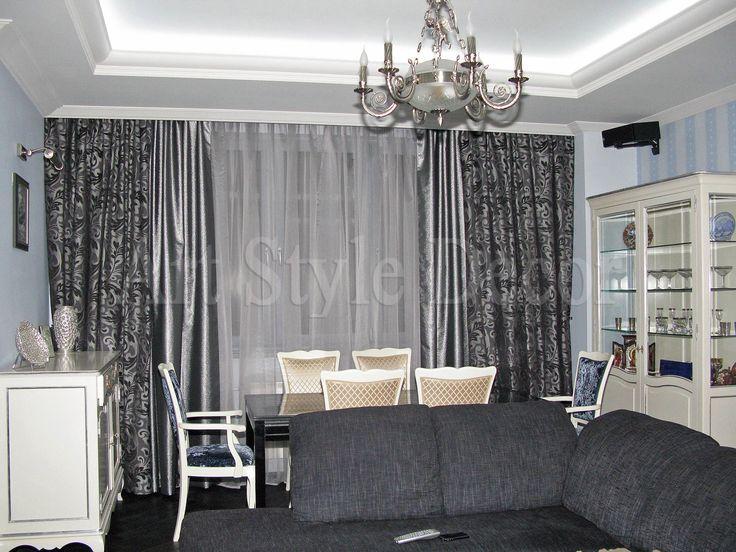 Гостиная, классические шторы с бахромой и  ламбрекеном #curtains
