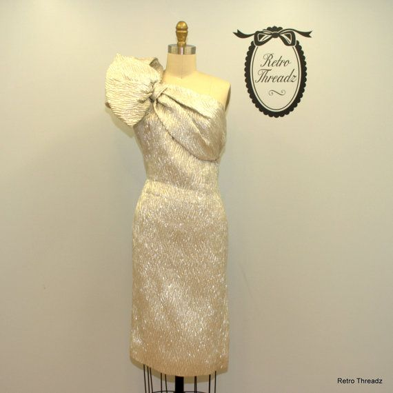 Vintage 1950s silver metallic party dress