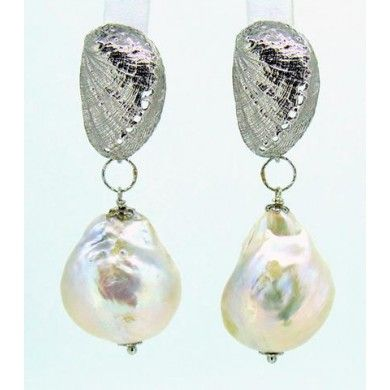 Orecchini perle barocche grandi e conchiglie in argento 925%°