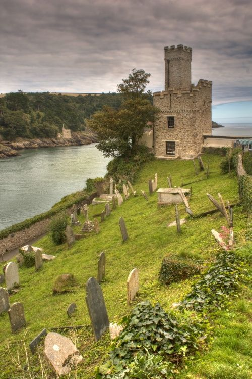 Dartmouth Castle, Devon, UK..would love just to walk through that cemetery (is that weird?)