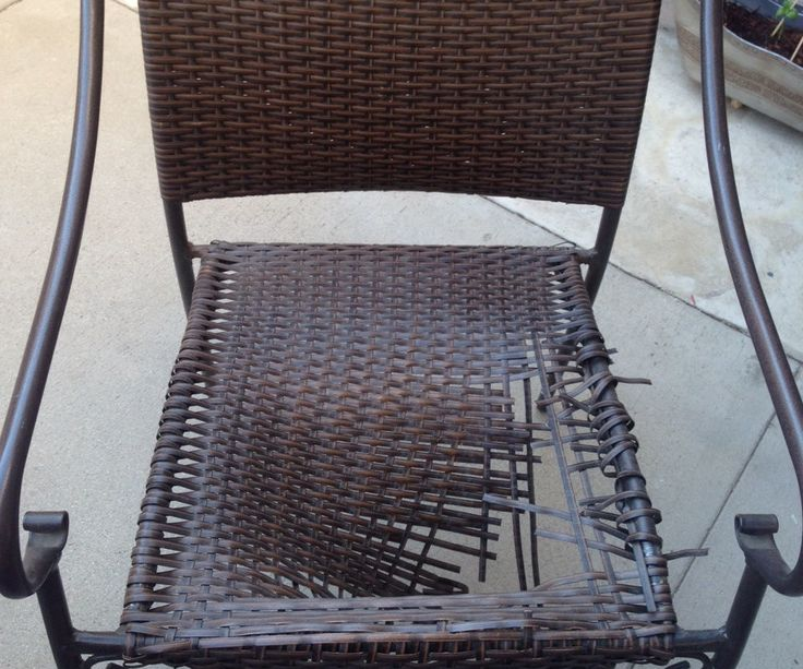 "I have two wicker patio chairs that both decided to come apart around the same time. Instead of trashing the set and buying a new one, I decided to try creating a new base that I could put a pretty cushion over. I stopped at the dollar store and picked up two 1/4 inch 100 foot ""cloth rope"". I sort of just winged the design since I am going for more structural stability than anything."