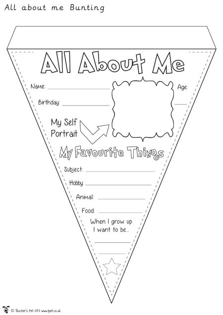 Teacher's Pet - All About Me Bunting - Premium Printable Game / Activity - EYFS, KS1, KS2, bunting, about me, transition, ourselves, portraits