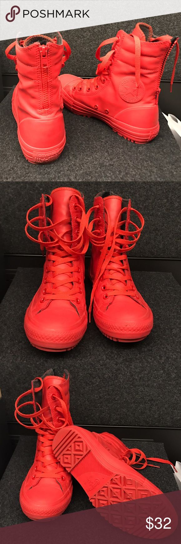 Like brand new Converse women's rain boots Converse Chuck Taylor women's size 7, red rain boots. Only worn twice! Converse Shoes Lace Up Boots