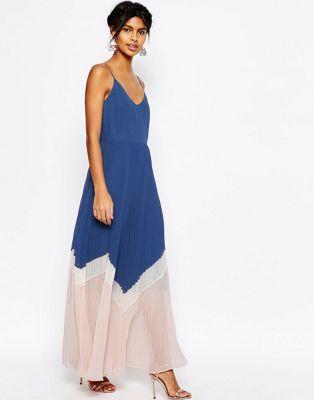 ASOS Maxi Dress In Pleated Colour Block