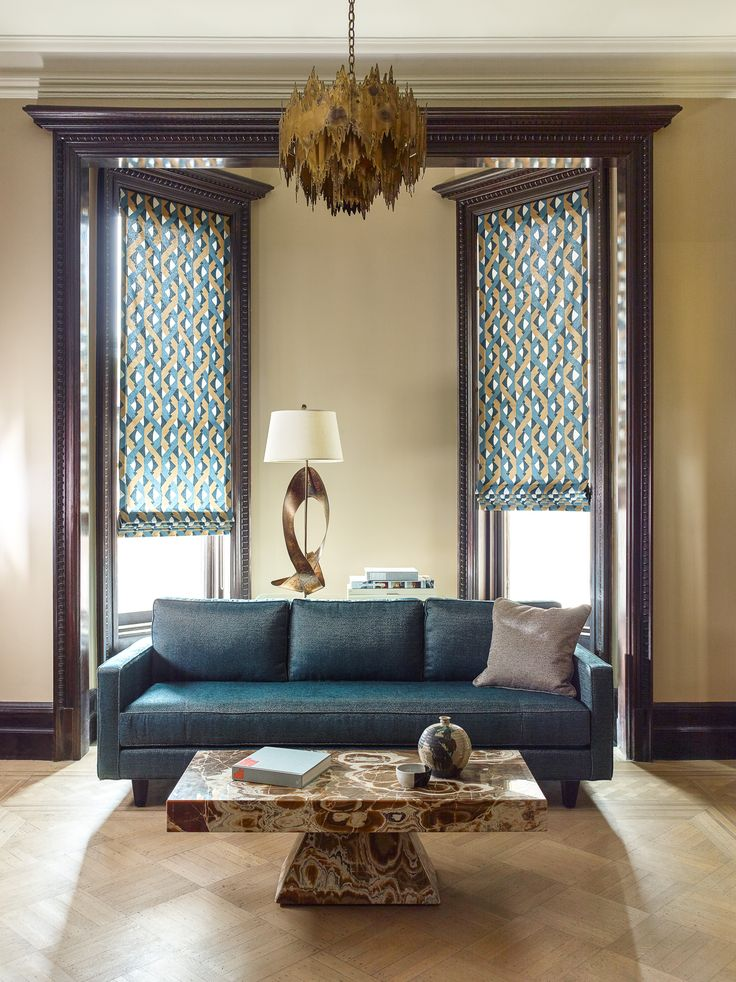 Try inside mount Flat Roman Shades in a bold print to complement craftsman style woodwork. Shown in material Dover Street, color Bronze. | The Shade Store