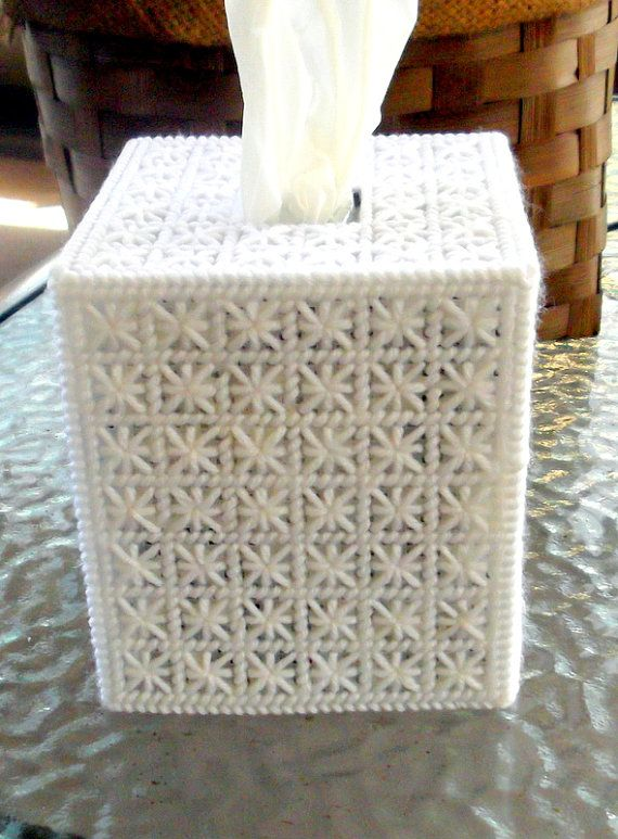 Beautiful White Tissue Box Cover by TissueMart on Etsy, $18.00