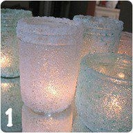1/2 ELMERS GLUE/HALF WATER ~ USE SMALL PAINT BRUSH TO PAINT THAT ON ANY OLD JARS OR GLASS CONTAINERS ~ THEN ROLL RIGHT AWAY ON EPSOM OR ROCK SALT. TADA!!!~~ WHEN THEY ARE DRY YOU NOW HAVE TEA LIGHT AND CANDLE HOLDERS. THESE ARE EASY AND JUST BEAUTIFUL WHEN YOU ARE DONE.