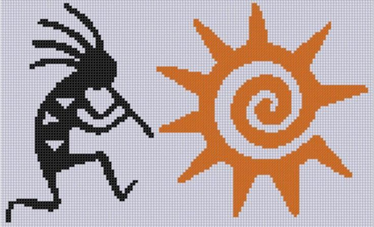 Looking for your next project? You're going to love Kokopelli Sun Cross Stitch Pattern  by designer Motherbeedesigns.