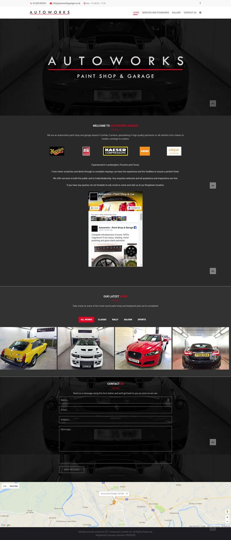 A highly stylised website design for Autoworks Garage, prestige bodywork and car repairs in Carlisle, Cumbria