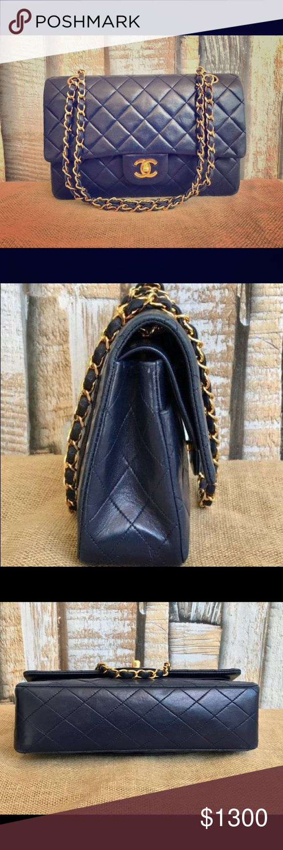 CHANEL Navy Blue Lambskin Leather Double Flap Bag Double Flap Gold SALE Turn Lock - Authentic CHANEL Bags Shoulder Bags