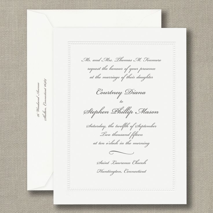sample wedding invitation letter for uk visa%0A White Beaded Border Personalized Wedding Invitations