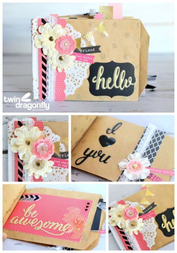 Make this Paper Bag Mini Album using the Home+Made line of paper! Heather from Twin Dragonfly Designs shows us how!