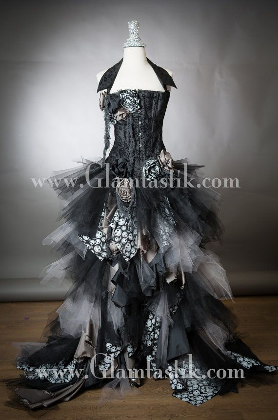 Jack Skeleton Custom Size Black and gray High Low tulle Burlesque Corset…