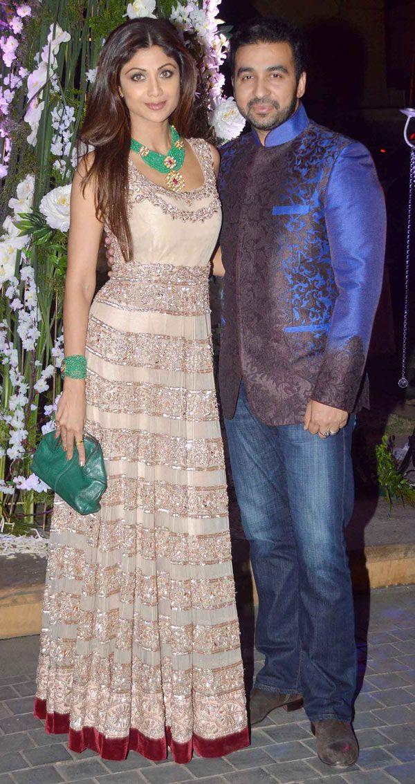 Shilpa Shetty and Raj Kundra at Manish Malhotra's niece Riddhi's sangeet. #Bollywood #Fashion #Style #Beauty