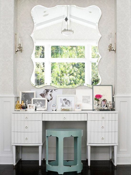 Who wouldn't want to get ready at this glamourous vanity? More ways to decorate with white: http://www.bhg.com/decorating/color/neutrals/decorating-with-white/?socsrc=bhgpin070212#page=9