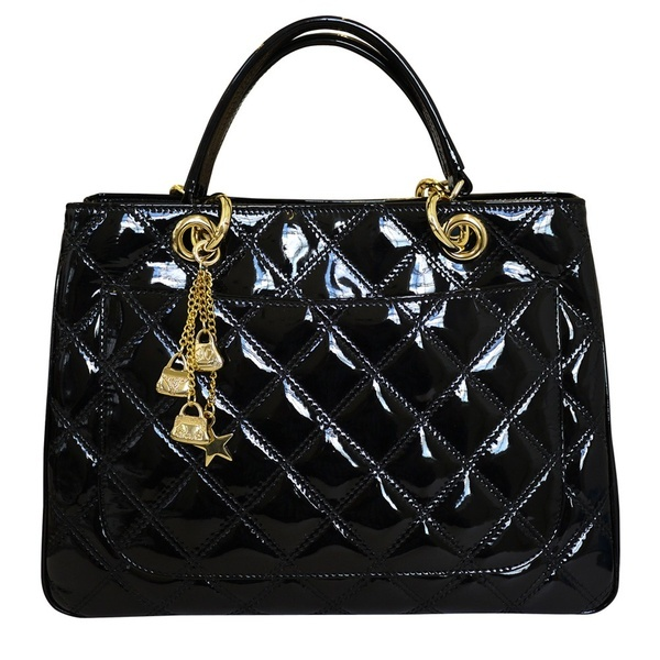 My Fav Designer Style Quilted Leather Grab Handbag in Black Patent Leather