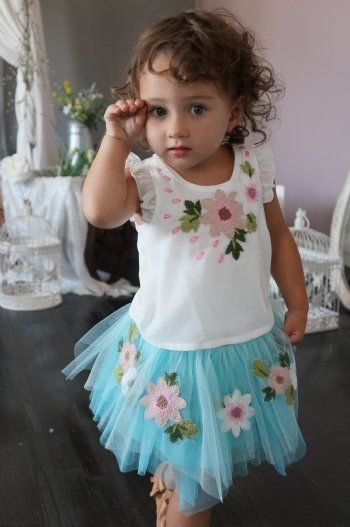 Girls Ruffle Chiffon Top w/ Floral Embroidery<BR>2T to 6X<BR>Now in Stock