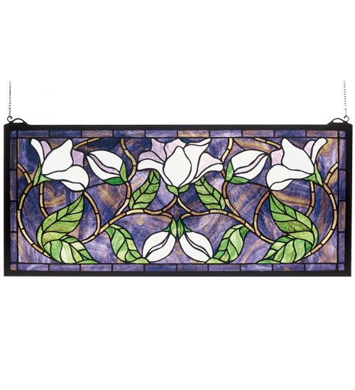 "25""W X 11""H Magnolia Floral Stained Glass Transom Window"