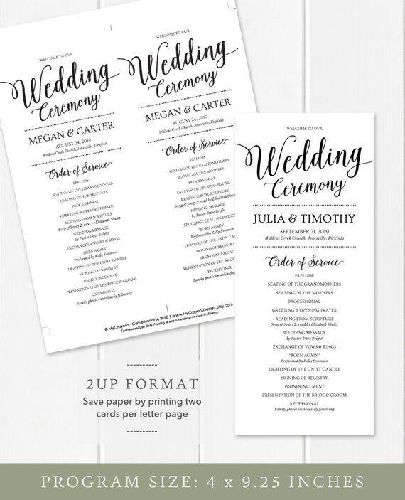 Wedding Program Template Instant Download Wedding Ceremony Programs Printable Wedding Programs Template Wedding Programs Wedding Ceremony Programs
