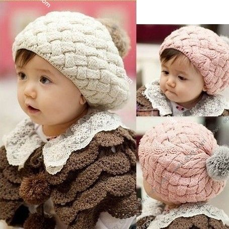 3 Colors Cute Baby's Toddler Infant Knit Crochet Beanie Winter Warm Hat Cap Kids