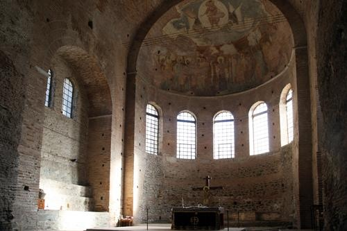 Thessaloniki - Interior of the Rotonda Monument of Galerius - Greece. Now a church - made by Romans 306AD