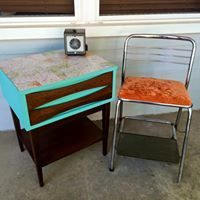 """This fun little mid century table was freshened up with """"The Gulf"""" and decoupaged with map pages on top. and who could resist orange crushed velvet?! #dixiebellepaint"""