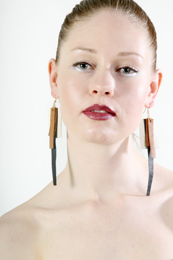 In the Middle earrings from upcycled leather by PiiaMyllerDesign, €15.00