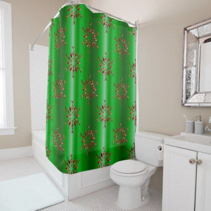 Red Snowflakes on Green Christmas Shower Curtain - shower curtains home decor custom idea personalize bathroom