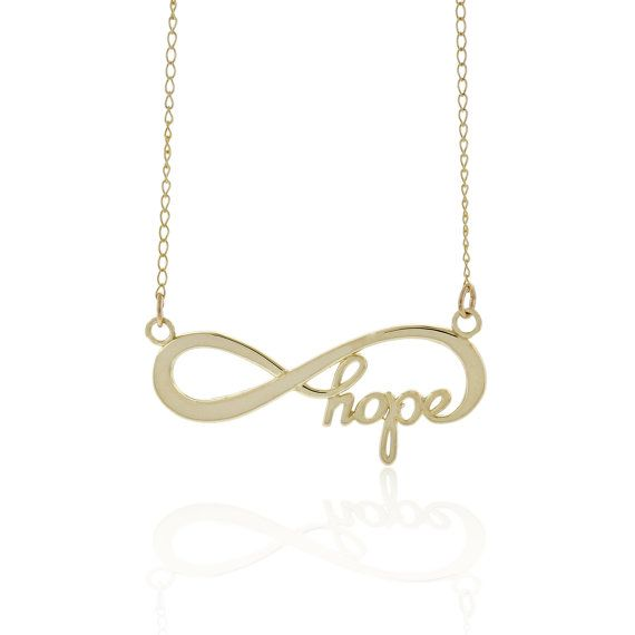 Gold Infinity Hope Necklace Simple Charm by CharmAmerica on Etsy, $120.00