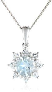 14k White Gold Aquamarine and White Topaz Solitaire Pendant Necklace, 18""