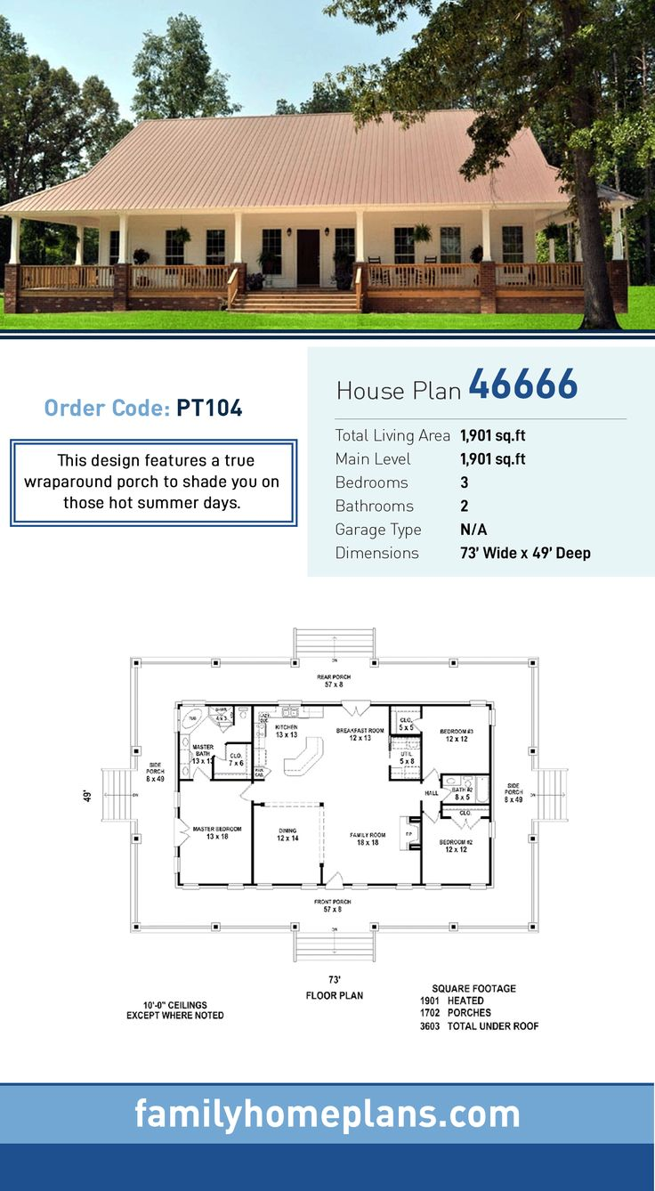 Southern House Plan 46666 | Total Living Area: 1,901 SQ FT, 3 bedrooms and 2 bathrooms. This design features a true wraparound porch to shade you on those hot summer days. #southernhome
