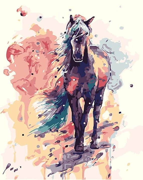 Paint By Number Kit Watercolor Horse Colorful Brown Horse With