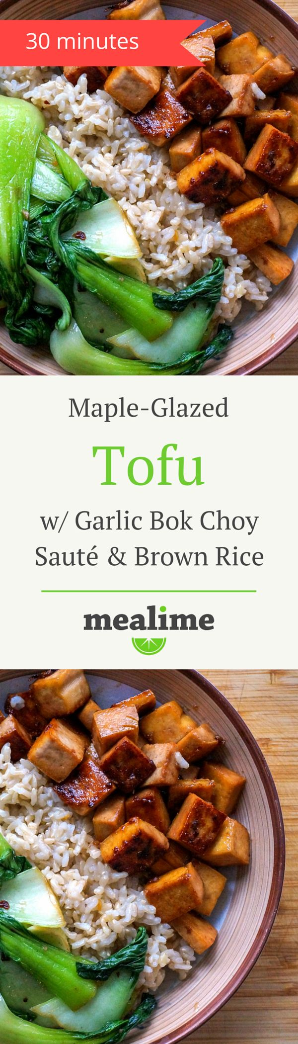 Maple Glazed Tofu with Garlic Bok Choy Sauté & Brown Rice - a quick and healthy Mealime recipe for one or two. Flexitarian, pescetarian, vegetarian, dairy free, fish free, peanut free, shellfish free, and tree nut free. #mealplanning
