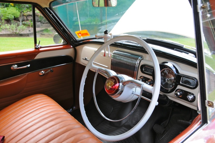 Holden FE, FC interior Photo. White steering wheel (not standard equipment).