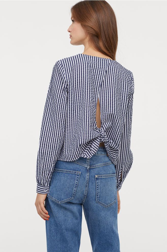 Seersucker Blouse Dark Blue White Striped Ladies H M Gb 1